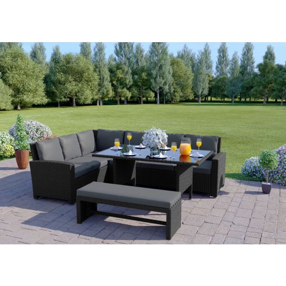 The Malibu 9 Seater Rattan Corner Garden Sofa & Dining Table Set with Bench in Black With Dark Cushions
