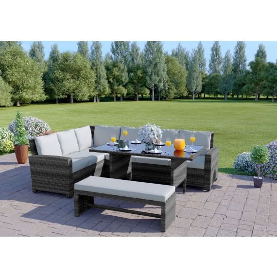 The Malibu 9 Seater Rattan Corner Garden Sofa & Dining Table Set with Bench in Mixed Grey With Light Cushions