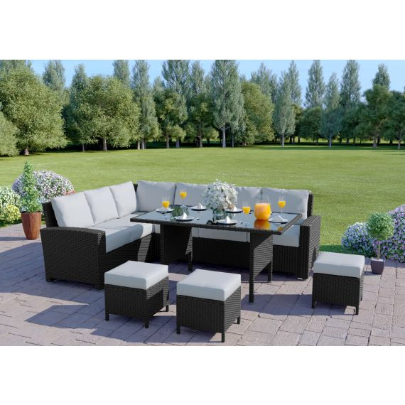 The Santorini 9 Seater Rattan Corner Garden Sofa & Dining Table Set in Black With Light Cushions