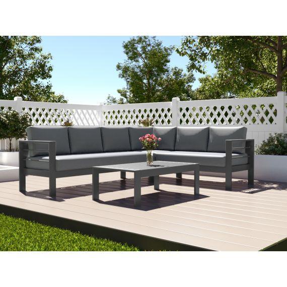 The Amalfi Aluminium 6 Seater Corner Sofa Set with Coffee Table Grey with Dark Cushions