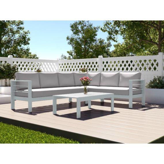 The Amalfi Aluminium 6 Seater Corner Sofa Set with Coffee Table White with Light Cushions