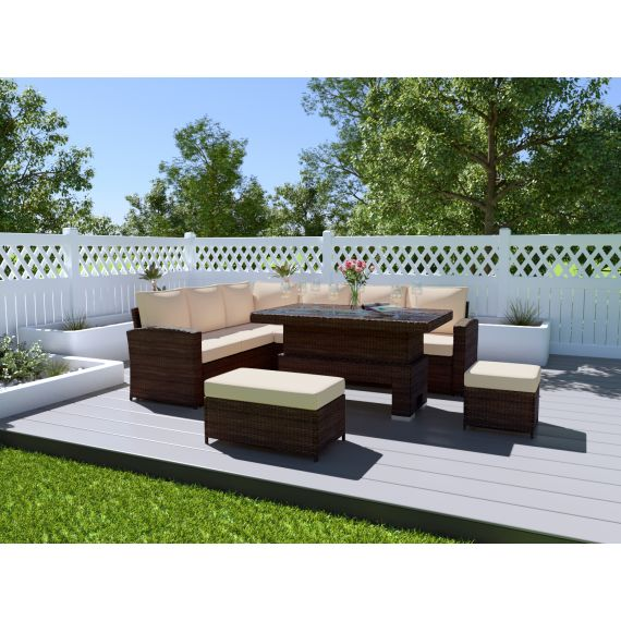 The Fiji 9 Seater Rising Table Rattan Corner Garden Sofa & Dining Set in Brown With Light Cushions