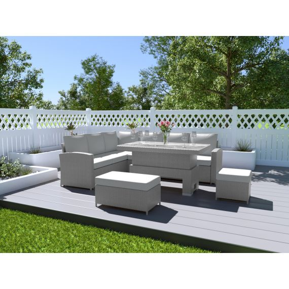 The Fiji 9 Seater Rising Table Rattan Corner Sofa Dining Set Solid Light Grey with Light Cushions