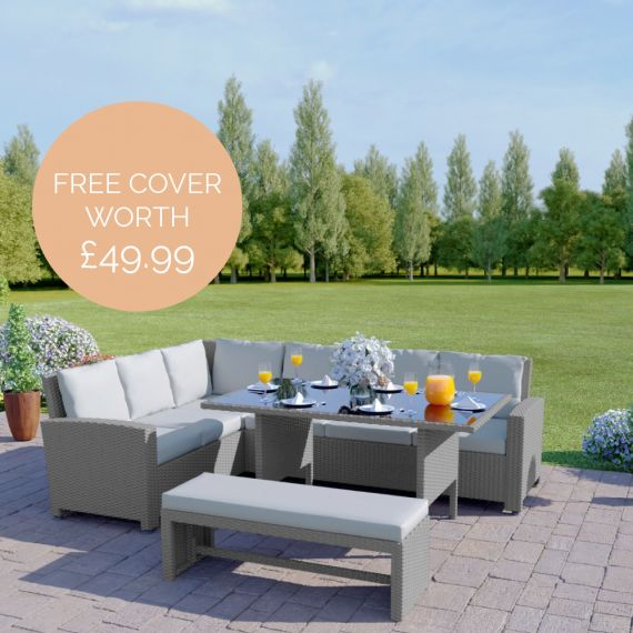 The Malibu 9 Seater Rattan Corner Garden Sofa & Dining Table Set with Bench in Solid Light Grey With Light Cushions INCLUDES FREE OUTDOOR COVER