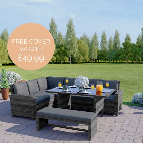 The Malibu 9 Seater Rattan Corner Garden Sofa & Dining Table Set with Bench in Mixed Grey With Dark Cushions INCLUDES FREE OUTDOOR COVER