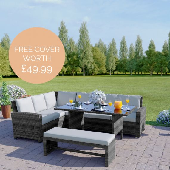 The Malibu 9 Seater Rattan Corner Garden Sofa & Dining Table Set with Bench in Mixed Grey With Light Cushions INCLUDES FREE OUTDOOR COVER