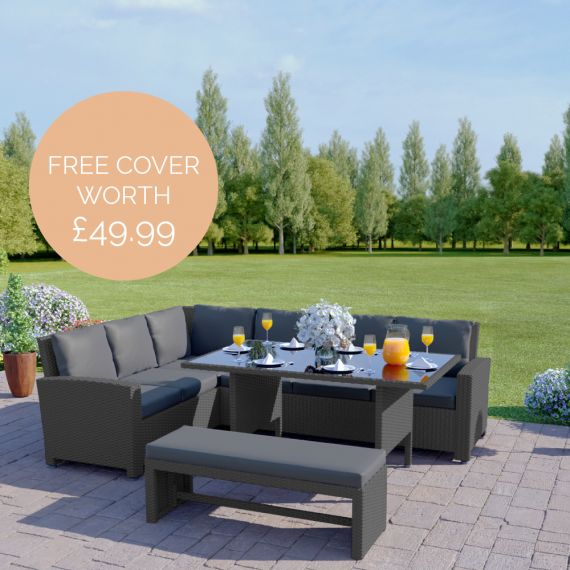 The Malibu 9 Seater Rattan Corner Garden Sofa & Dining Table Set with Bench in Grey With Dark Cushions INCLUDES FREE OUTDOOR COVER