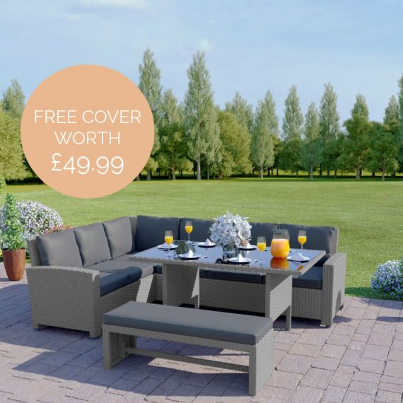 The Malibu 9 Seater Rattan Corner Garden Sofa & Dining Table Set with Bench in Solid Light Grey With Dark Cushions INCLUDES FREE OUTDOOR COVER