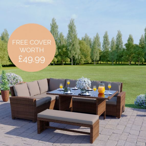 The Malibu 9 Seater Rattan Corner Garden Sofa & Dining Table Set with Bench in Brown With Dark Cushions INCLUDES FREE OUTDOOR WATERPROOF COVER