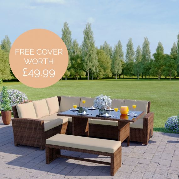 The Malibu 9 Seater Rattan Corner Garden Sofa & Dining Table Set with Bench in Brown With Light Cushions INCLUDES FREE OUTDOOR COVER
