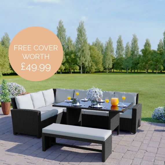 The Malibu 9 Seater Rattan Corner Garden Sofa & Dining Table Set with Bench in Black With Light Cushions INCLUDES FREE OUTDOOR COVER