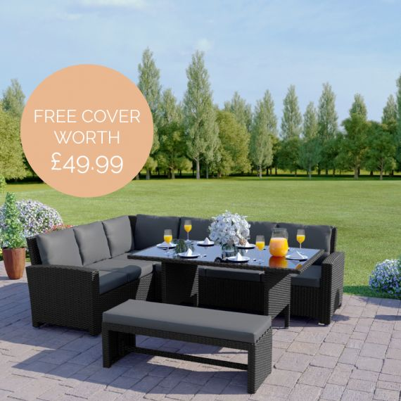 The Malibu 9 Seater Rattan Corner Garden Sofa & Dining Table Set with Bench in Black With Dark Cushions INCLUDES FREE OUTDOOR COVER