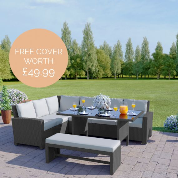 The Malibu 9 Seater Rattan Corner Garden Sofa & Dining Table Set with Bench in Grey With Light Cushions INCLUDES FREE OUTDOOR COVER