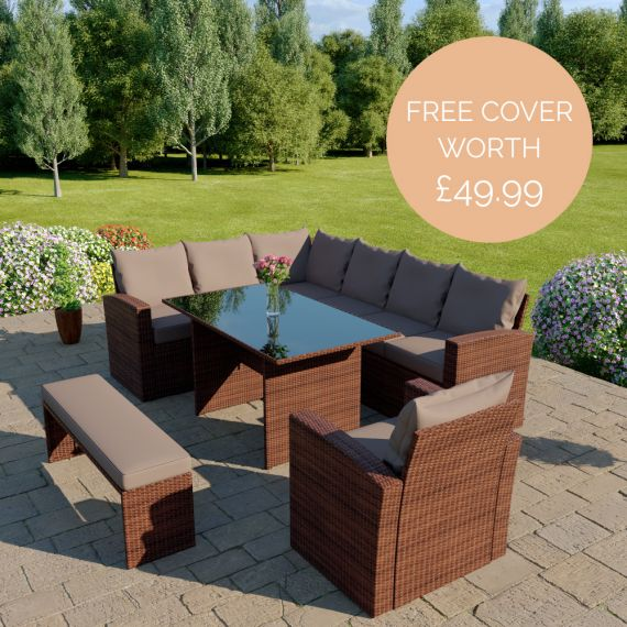 The Aruba 9 seater corner dining set with arm chair and bench in brown with dark cushions INCLUDES FREE OUTDOOR COVER