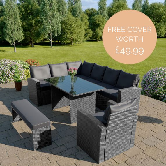 The Aruba 9 seater rattan corner dining set with arm chair and bench in solid grey with dark cushions INCLUDES FREE OUTDOOR COVER