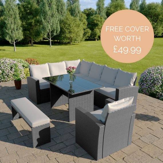 The Aruba 9 seater rattan corner dining set with arm chair and bench in solid grey with light cushions INCLUDES FREE OUTDOOR COVER