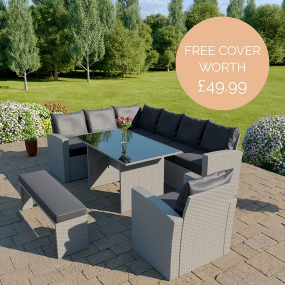 The Aruba 9 seater rattan corner dining set with arm chair and bench in light grey with dark cushions INCLUDES FREE OUTDOOR COVER