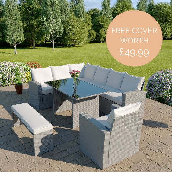 The Aruba 9 seater rattan corner dining set with arm chair and bench in light grey with light cushions INCLUDES FREE OUTDOOR COVER