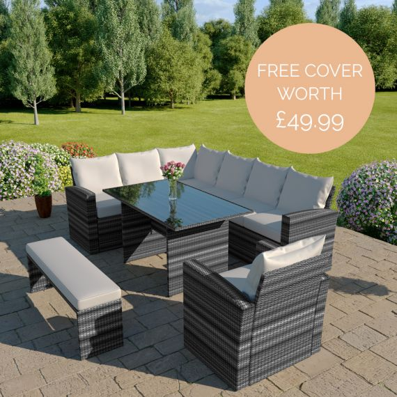 The Aruba 9 seater rattan corner dining set with arm chair and bench in mixed grey with light cushions INCLUDES FREE OUTDOOR COVER