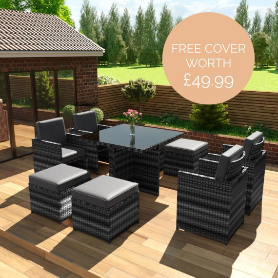 The Bali - 8 Seater Rattan Cube Set in Mixed Grey with Dark Cushions - Free Cover