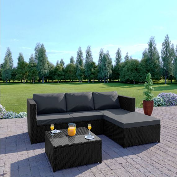 Rattan sofa set L Shape black with dark cushions