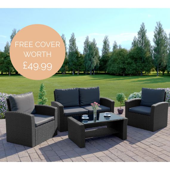 The Algarve 4 Seater Rattan Sofa Set in Black with Dark Cushions INCLUDES FREE OUTDOOR COVER