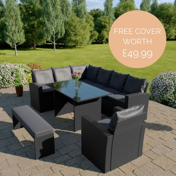 The Aruba 9 seater rattan corner dining set with arm chair and bench in black with dark cushions INCLUDES FREE OUTDOOR COVER