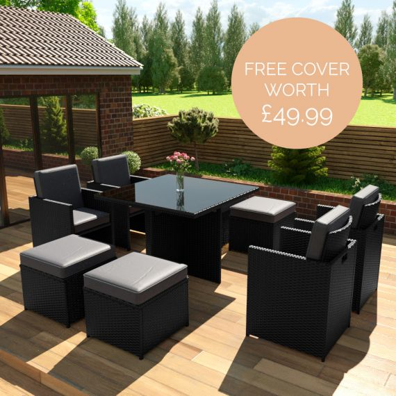The Bali - 8 Seater Rattan Cube Set in Black with Dark Cushions