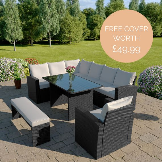 The Aruba 9 seater rattan corner dining set with arm chair and bench in black with light cushions INCLUDES FREE OUTDOOR COVER