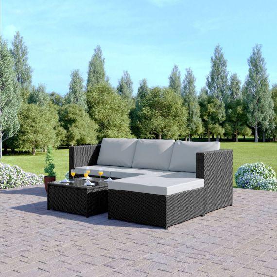 The Havana 3 Seater L Shape Rattan Garden Sofa Set - with coffee table