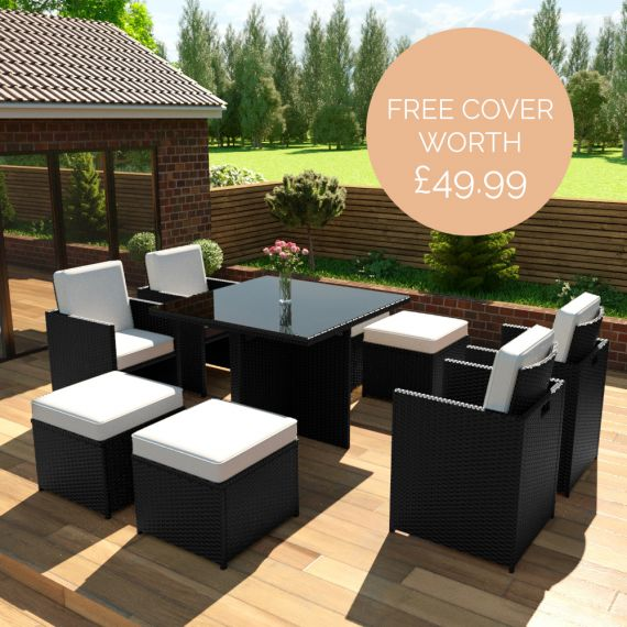 The Bali - 8 Seater Rattan Cube Set in Black with Light Cushions