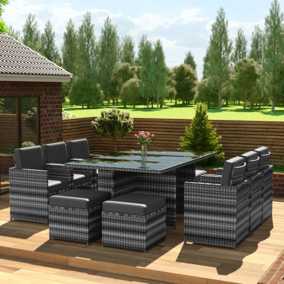 The Faro - 10 Seater Rattan Cube Set in Mixed Grey with Dark Cushions