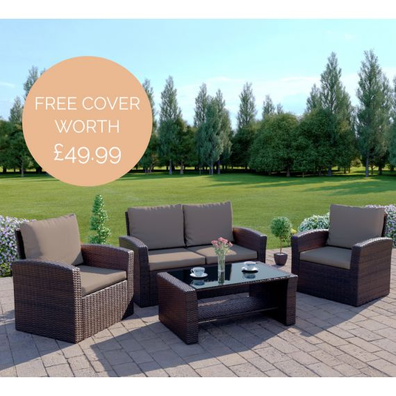 The Algarve 4 Seater Rattan Sofa Set in Brown with Dark Cushions INCLUDES FREE OUTDOOR COVER
