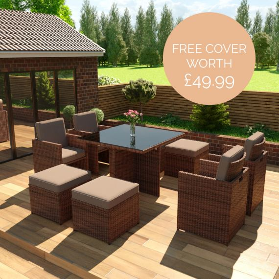 The Bali - 8 Seater Rattan Cube Set in Brown with Dark Cushions