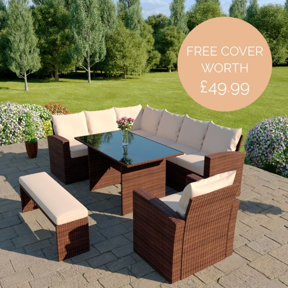 The Aruba 9 seater corner dining set with arm chair and bench in brown with light cushions INCLUDES FREE OUTDOOR COVER