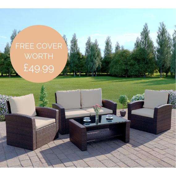 The Algarve 4 Seater Rattan Sofa Set in Brown with Light Cushions INCLUDES FREE OUTDOOR COVER