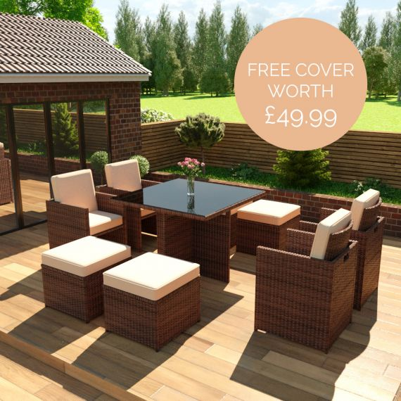 The Bali - 8 Seater Rattan Cube Set in Brown with Light Cushions