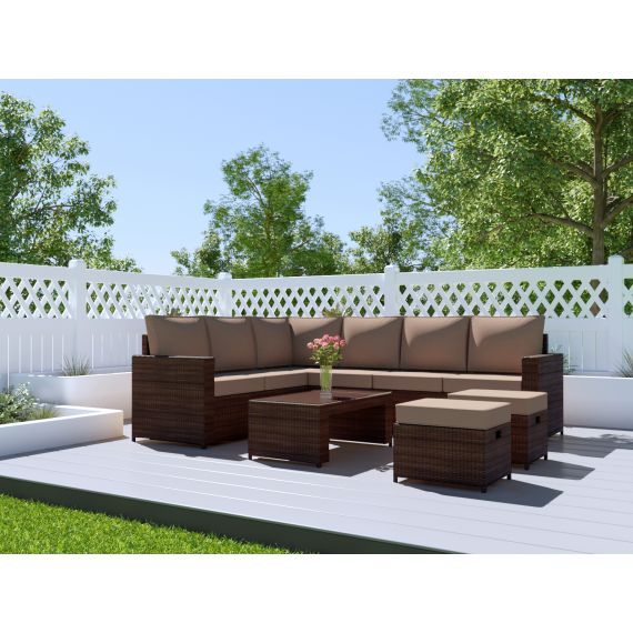 The Barcelona 8 Seater Rattan Corner Garden Sofa & Coffee Table Set in Brown With Dark Cushions