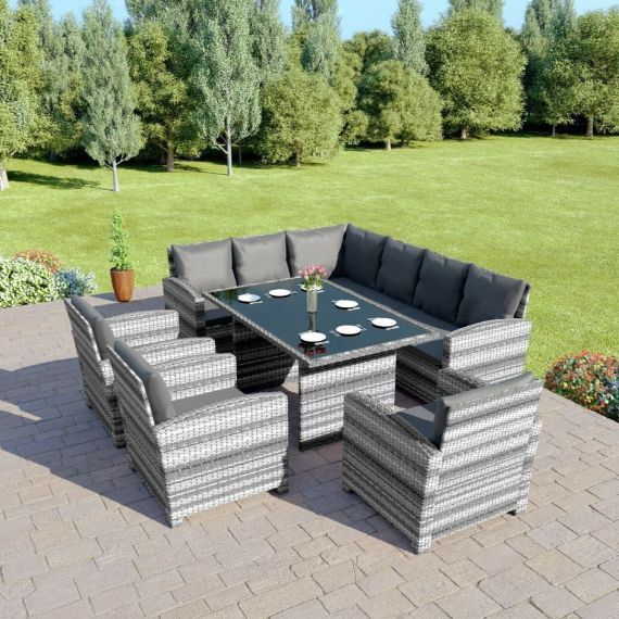 Bermuda 9 Seater Garden Rattan Dining Set Mixed Grey with Dark Cushions