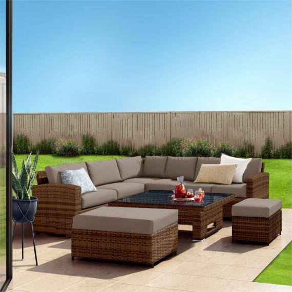 The Fiji 9 Seater Rising Table Rattan Corner Garden Sofa & Dining Set in Brown With Dark Cushions