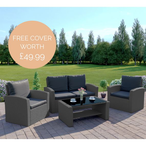 The Algarve 4 Seater Rattan Sofa Set in Solid Grey with Dark Cushions INCLUDES FREE COVER