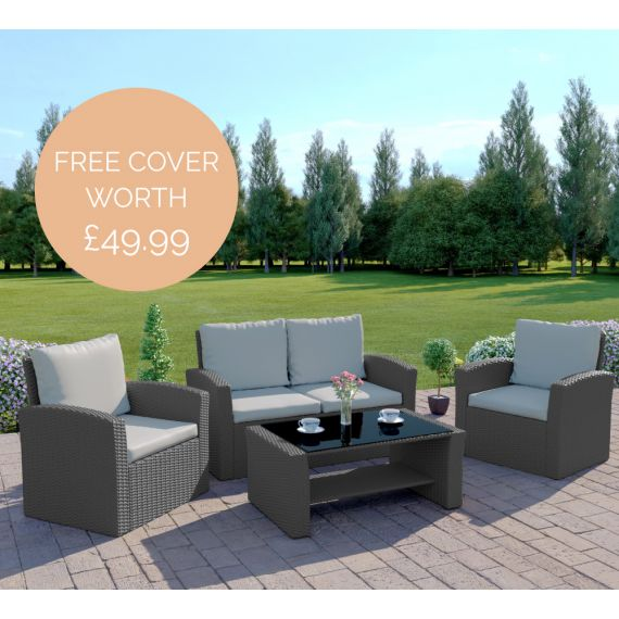 The Algarve 4 Seater Rattan Sofa Set in Solid Grey with Light Cushions INCLUDES FREE OUTDOOR COVER