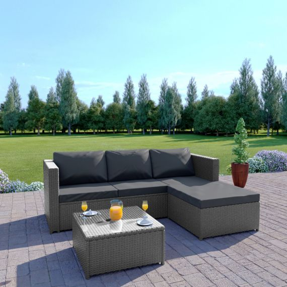 Rattan outdoor garden sofa set L Shape grey dark thick cushions the havana