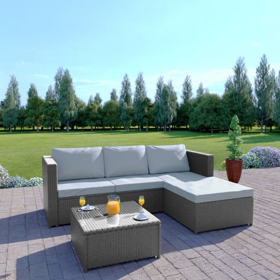 Rattan outdoor garden corner L Shape sofa set grey rattan the havana thick cushions