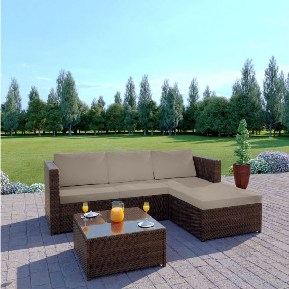 The Havana 3 Seater L Shape Rattan Sofa Set in Brown with Light Cushions