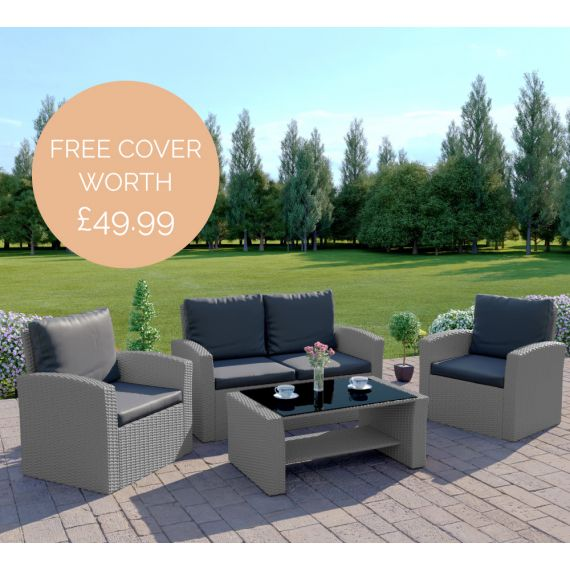 The Algarve 4 Seater Rattan Sofa Set in Light Solid Grey with Dark Cushions INCLUDES FREE OUTDOOR COVER