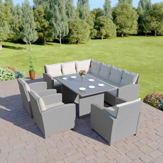 grey rattan dining set