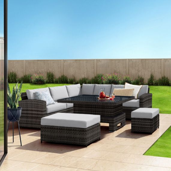 The Fiji 9 Seater Rising Table Rattan Corner Garden Sofa & Dining Set in Mixed Grey With Light Cushions