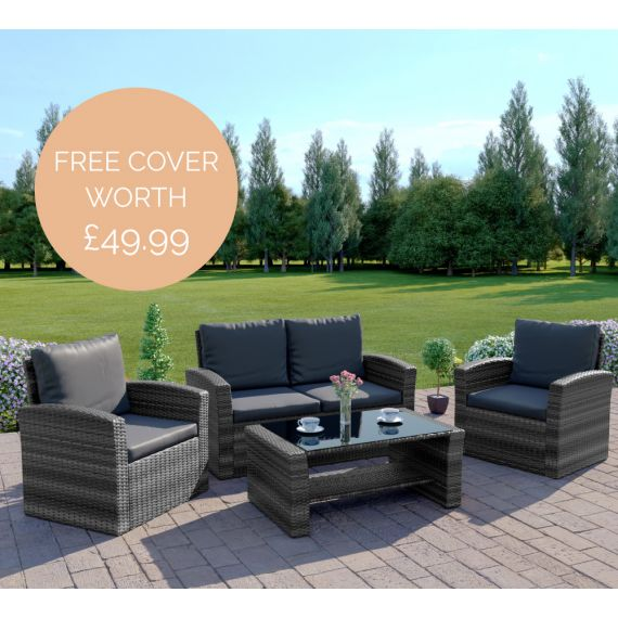 The Algarve 4 Seater Rattan Sofa Set in Mixed Grey with Dark Cushions INCLUDES FREE OUTDOOR COVER