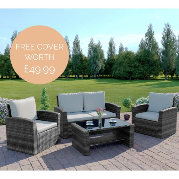 The Algarve 4 Seater Rattan Sofa Set in Mixed Grey with Light Cushions INCLUDES FREE OUTDOOR COVER